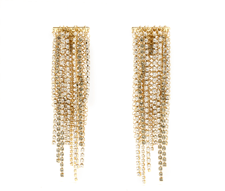 Lanvin LANVIN Crystal-embellished clip-on fringed earrings