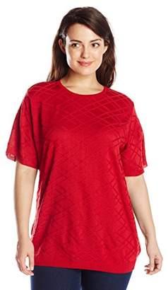 Alfred Dunner Alf Dunner Women's Plus-Size Short-Sleeve Sweater