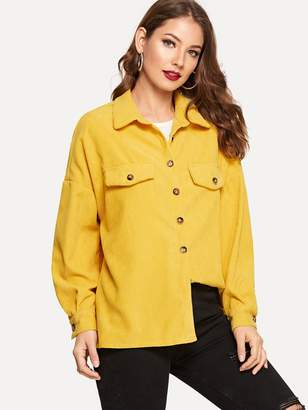 Shein Drop Shoulder Single Breasted Cord Jacket