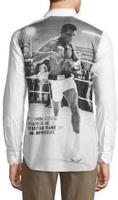 Robert Graham Muhammad Ali Long-Sleeve Woven Shirt, White $425 thestylecure.com