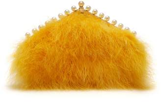 Mulberry Small Witney Clutch Deep Lemon Calfskin and Feathers