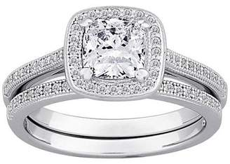 Micropave Generic Majestic CZ Sterling Silver Framed Cushion-Cut 2-Piece Wedding Ring Set