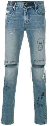 RtA distressed drawn on jeans