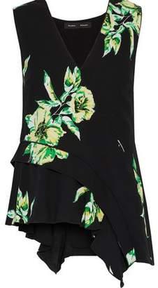 Proenza Schouler Asymmetric Ruffled Floral-Print Silk Top