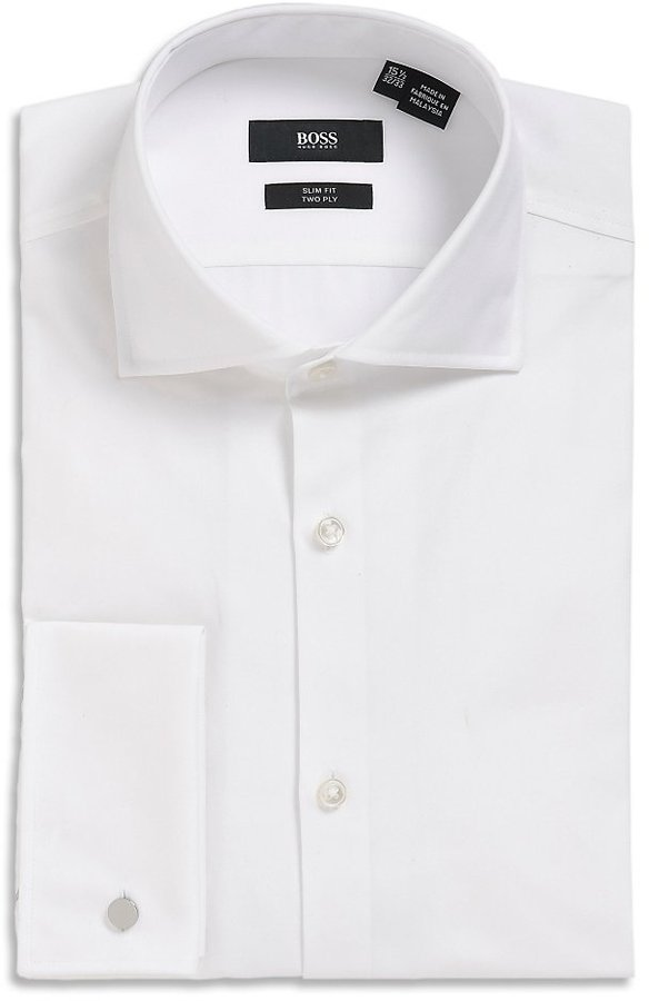 39 Jacco Us 39 Slim Fit Spread Collar Tuxedo Shirt By Boss