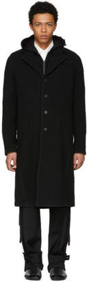 Craig Green Black Wool Bouclé Long Coat