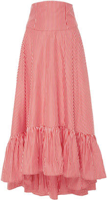 MDS Stripes M'O Exclusive Ruffle High-Low Cotton Maxi Skirt