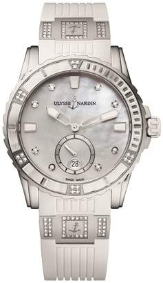Ulysse Nardin Stainless Steel and Diamond Lady Diver Watch 40mm