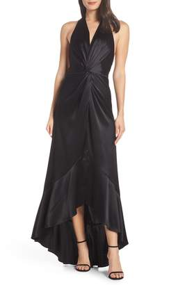 Jill Stuart High/Low Twist Satin Evening Dress