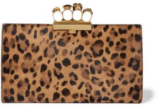 Alexander McQueen Knuckle Embellished Leopard-print Calf Hair Clutch - Leopard print