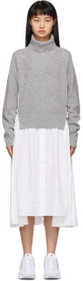 Sacai White and Grey Knit Wool Dress