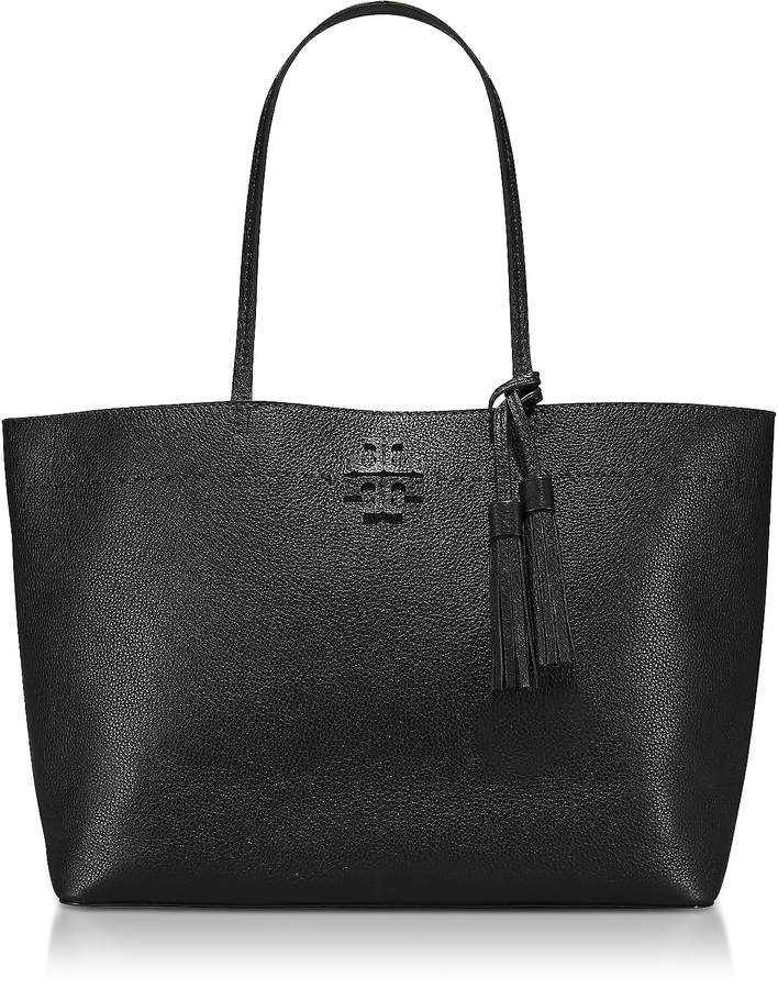 Tory Burch McGraw Black Textured Leather Tote Bag - ONE COLOR - STYLE