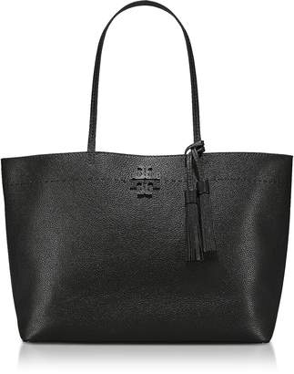 Tory Burch McGraw Black Textured Leather Tote Bag