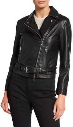 Emporio Armani Leather Zip-Front Biker Jacket