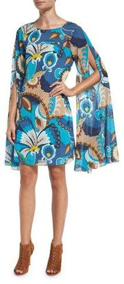 Trina Turk Sleeveless Floral Silk Cape Dress, Peacock $378 thestylecure.com