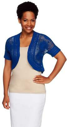 Liz Claiborne New York Hand Crochet Open Front Shrug