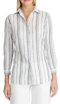 Chaps Petite Relaxed-Fit Striped Linen Cotton Blend Button-Down Shirt
