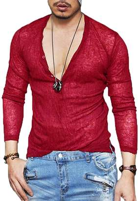 e8b22421a8d1f COOFANDY Men s Sexy See Through T Shirt Mesh Henley Shirt Long Sleeve  Clubwear