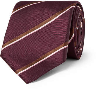 Dunhill 7cm Striped Mulberry Silk Tie - Men - Burgundy
