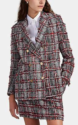 Thom Browne Women's Fringed-Overcheck Tweed Blazer - Red