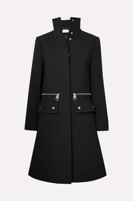 Chloé Zip-detailed Wool-crepe Coat - Black