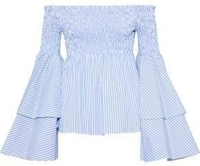 Caroline Constas Appolonia Off-the-shoulder Striped Cotton-poplin Blouse
