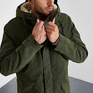 River Island Jack and Jones Premium khaki parka coat
