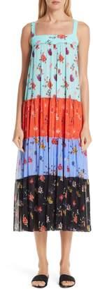 Fuzzi Tiered Patchwork Midi Dress