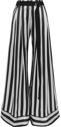 Ann Demeulemeester Striped Silk-satin Pants - Gray