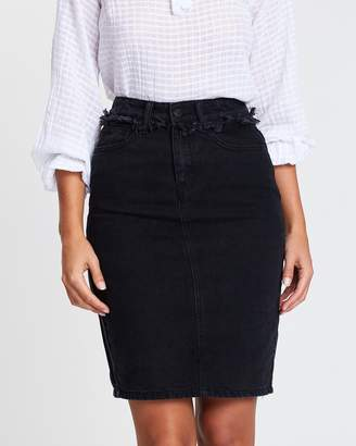 Atmos & Here ICONIC EXCLUSIVE - Lola Midi Denim Skirt with Frayed Waist