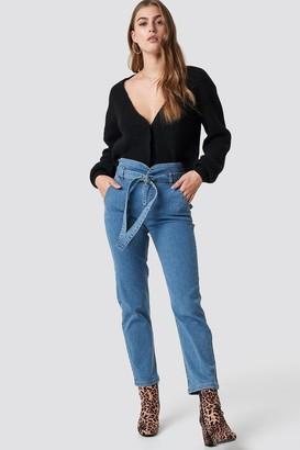 NA-KD Na Kd Paperbag Denim Pants Black