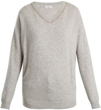 Brunello Cucinelli Embroidered V-neck cashmere sweater