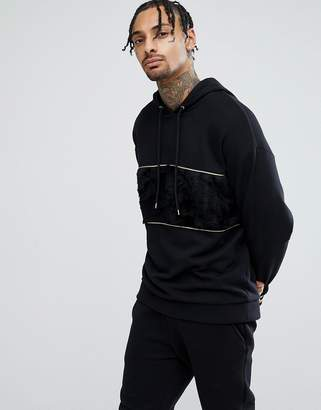 Asos Oversized Hoodie In Black With Faux Fur Panel