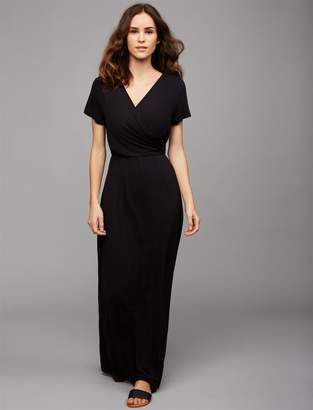 A Pea in the Pod Wrap Front Nursing Maxi Dress- Black