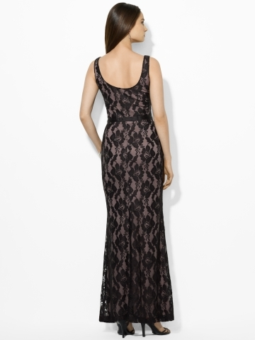 Ralph Lauren Belted Lace Gown