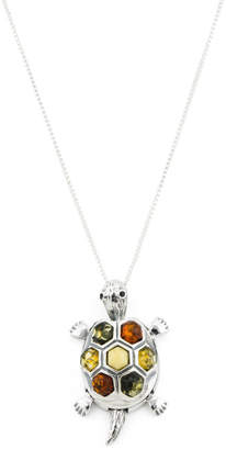 Made In Poland Sterling Silver Baltic Amber Turtle Necklace