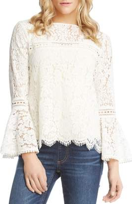 Karen Kane Embellished Lace Bell Sleeve Top