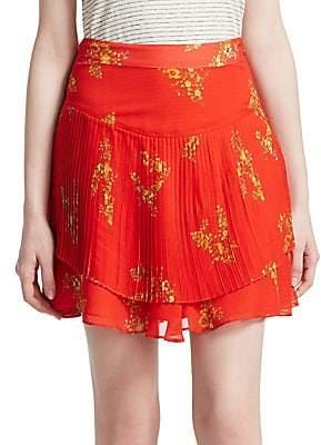 Derek Lam 10 Crosby Women's Floral Pleated Mini Skirt - Size 0