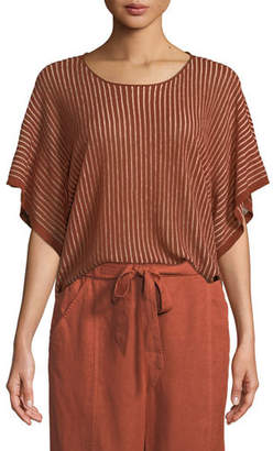 Eileen Fisher Short-Sleeve Vertical Striped Organic Sweater, Plus Size