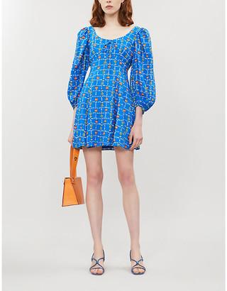 STAUD Printed linen mini dress