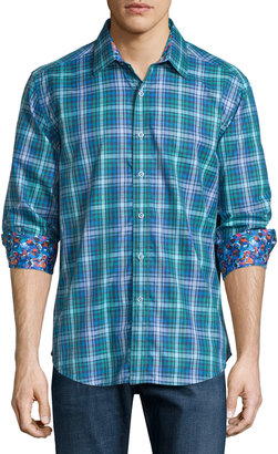 Robert Graham Hermey Printed Long-Sleeve Shirt, Cobalt $155 thestylecure.com