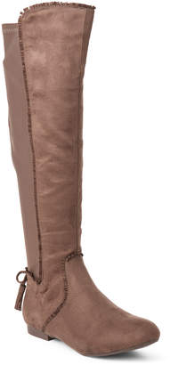 Gc Shoes Taupe Delilah Fringe Knee-High Stretch Boots