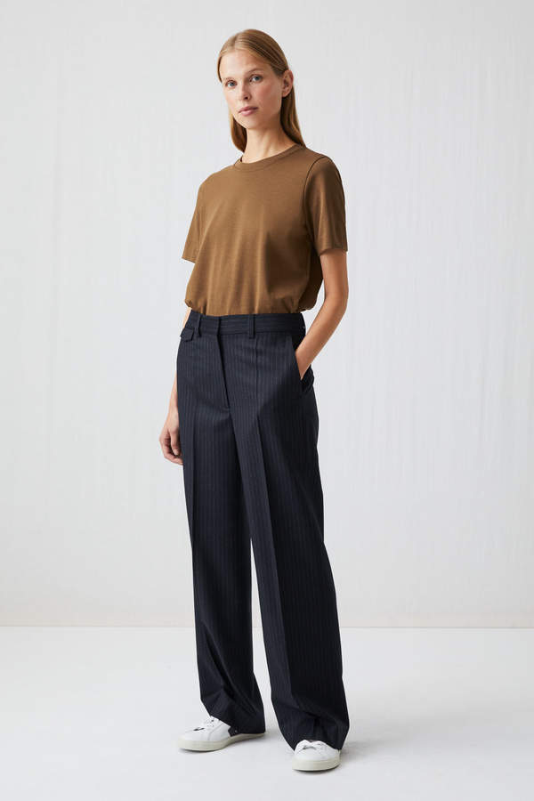 Arket Pinstripe Wool Trousers