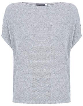 Mint Velvet Silver Metallic Top, Grey