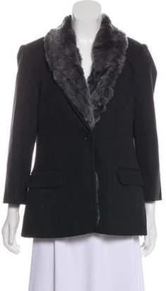 Elizabeth and James Fur-Trimmed Blazer Black Fur-Trimmed Blazer