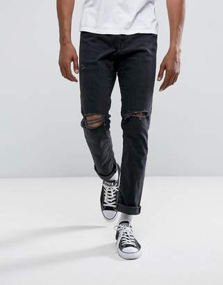 Abercrombie & Fitch Slim Fit Jeans in Destroyed Black Wash