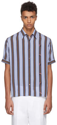 Fendi Brown and Blue Striped Logo Shirt