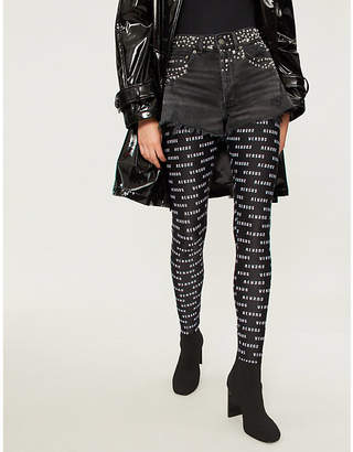 The Kooples High-rise studded denim shorts
