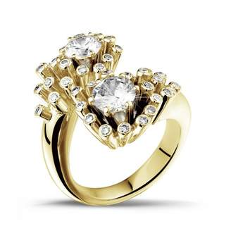Toi et Moi 3djewels 1.50Ct Round Sim Diamond Design Engagement Ring in 14K Yellow Gold PL