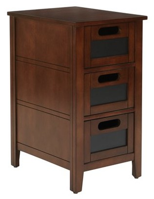Office Star OSP Designs by Products Avery Chalkboard Chair Side Table, Saddle